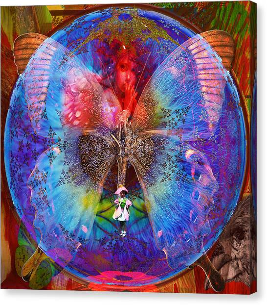 Butterfly Sisterly City Love Canvas Print
