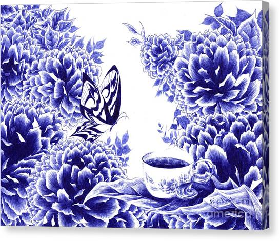 Butterfly Teatime Canvas Print