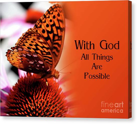 Butterfly With God Inspirational Canvas Print