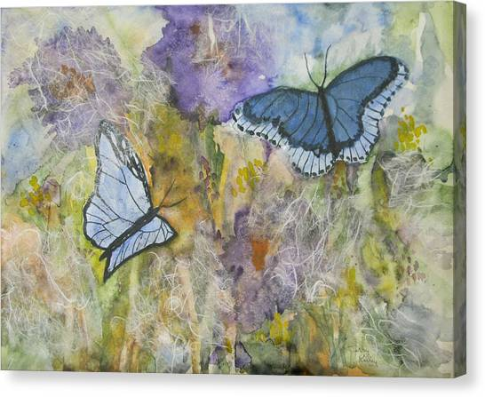 Butterflys On Color Canvas Print