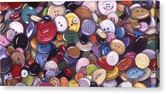 Buttons Canvas Print by Victoria Heryet