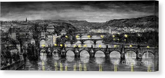 Old Canvas Print - Bw Prague Bridges by Yuriy Shevchuk