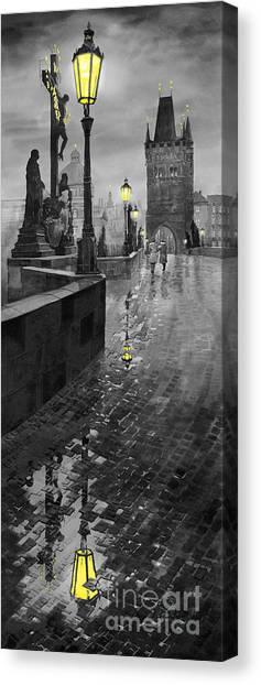 Bridge Canvas Print - Bw Prague Charles Bridge 01 by Yuriy Shevchuk