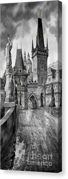 Canvas Print - Bw Prague Charles Bridge 02 by Yuriy Shevchuk