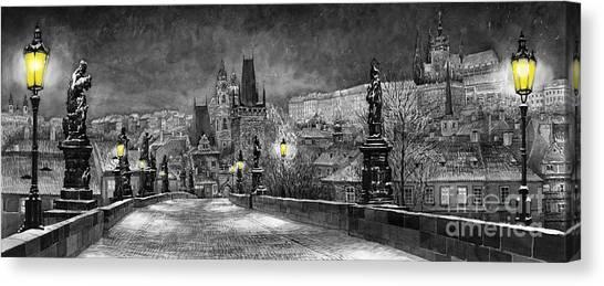 Prague Canvas Print - Bw Prague Charles Bridge 06 by Yuriy Shevchuk