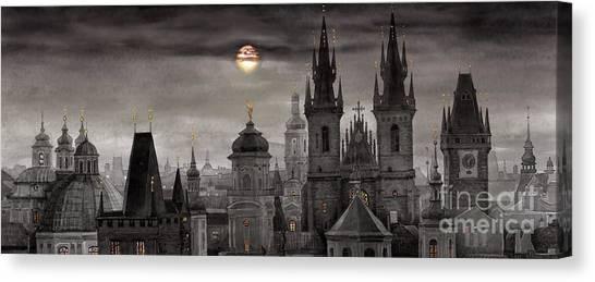 Watercolour Canvas Print - Bw Prague City Of Hundres Spiers by Yuriy Shevchuk