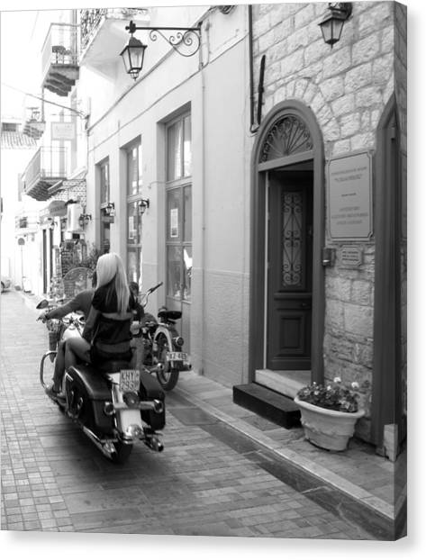 Bw Sexy Girl Riding On Motorcycle With Handsome Bike Rider Speed Stone Paved Street Nafplion Greece Canvas Print