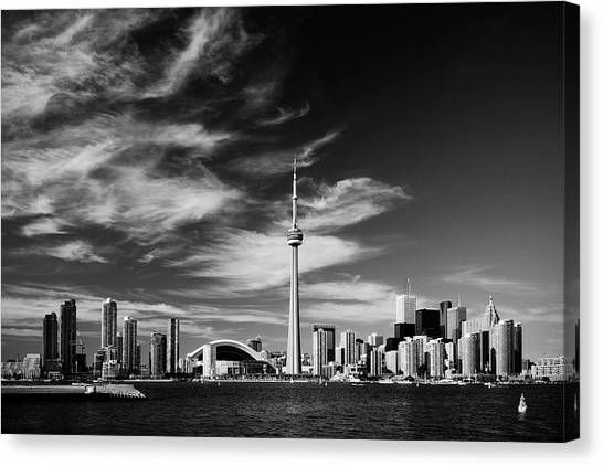 Toronto Skyline Canvas Print - Bw Toronto Skyline 1.5 Ratio Xl by Andriy Zolotoiy