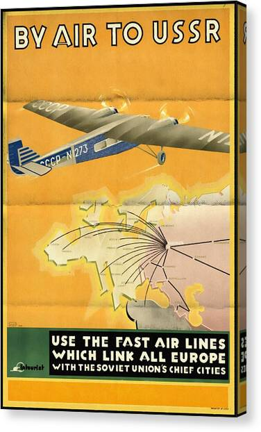 By Air To Ussr With The Soviet Union's Chief Cities - Vintage Poster Folded Canvas Print