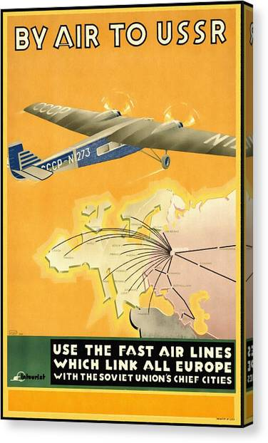 By Air To Ussr With The Soviet Union's Chief Cities - Vintage Poster Restored Canvas Print
