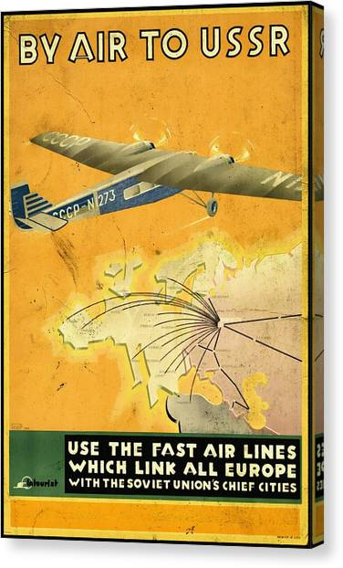 By Air To Ussr With The Soviet Union's Chief Cities - Vintage Poster Vintagelized Canvas Print