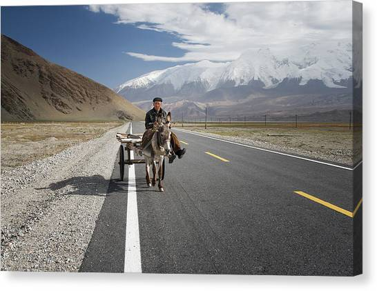 Highways Canvas Print - By Donkey On The Karakorum Highway by Reggy