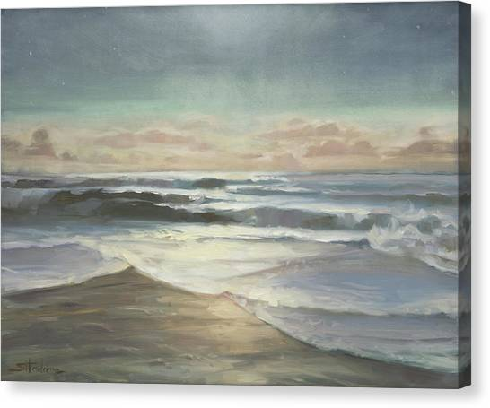 Low Tide Canvas Print - By Moonlight by Steve Henderson