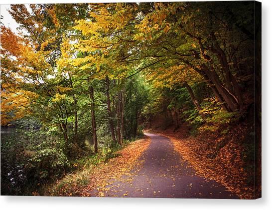 Jenny Lake Canvas Print - By The Autumn Path by Jenny Rainbow