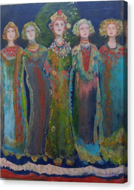 In A Row Canvas Print - By The Baltic by Norma Malerich