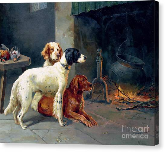 Pheasants Canvas Print - By The Fire by Alfred Duke