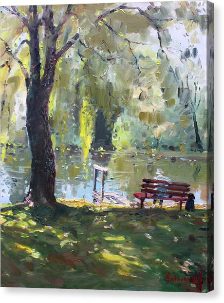 Benches Canvas Print - By The Lake  by Ylli Haruni