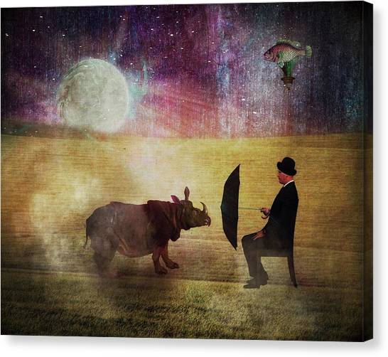 Rhinocerus Canvas Print - By The Light Of The Moon by Terry Fleckney