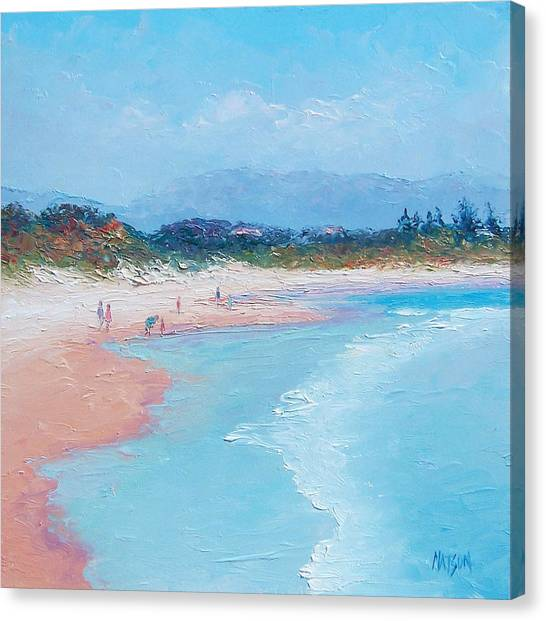 People Walking On Beach Canvas Print - Byron Bay Beach  by Jan Matson