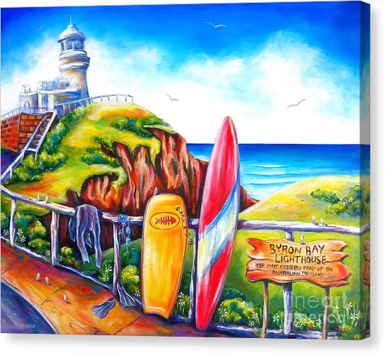 Surfboard Canvas Print - Byron Bay Lighthouse by Deb Broughton