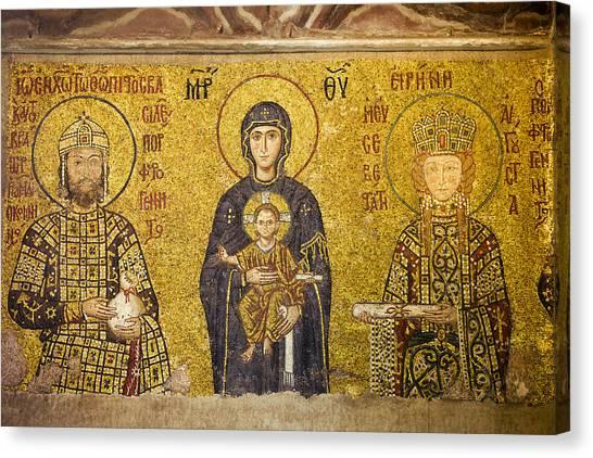 Orthodox Canvas Print - Byzantine Mosaic In Hagia Sophia by Artur Bogacki