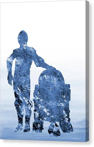 C-3po Canvas Print - C-3po And R2-d2-blue by Erzebet S