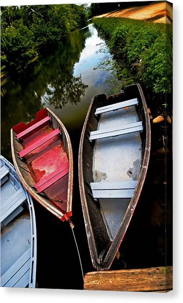 C And O Canal With Rowboats Canvas Print