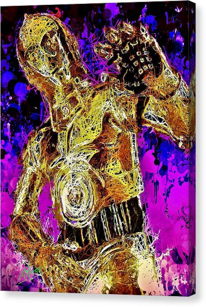 Canvas Print featuring the mixed media  C-3po by Matra Art