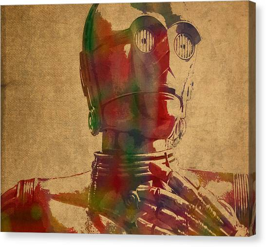 Droid Canvas Print - C3po Droid From Star Wars The Force Awakens Watercolor Portrait by Design Turnpike