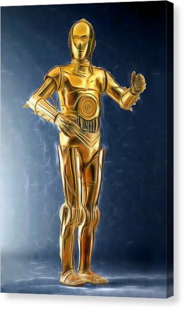 R2-d2 Canvas Print - C3po Good In Gold by Scott Campbell
