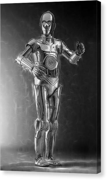 R2-d2 Canvas Print - C3po One Of The Rat Pack by Scott Campbell