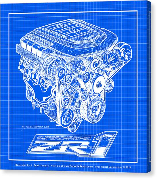 C6 Zr1 Corvette Ls9 Engine Blueprint Canvas Print