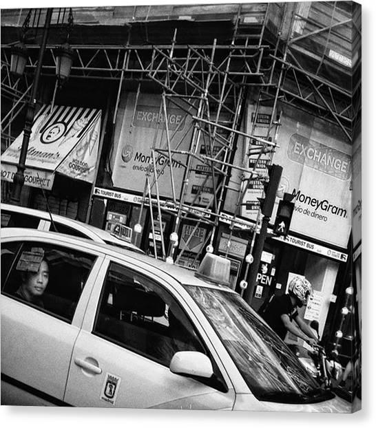Traffic Canvas Print - Cab Trap  #taxi #cab #people by Rafa Rivas
