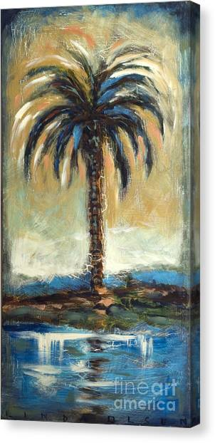 Cabbage Palm Antiqued Canvas Print by Linda Olsen