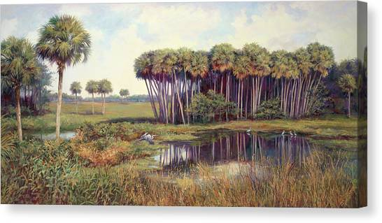 Everglades Canvas Print - Cabbage Palm Hammock by Laurie Hein