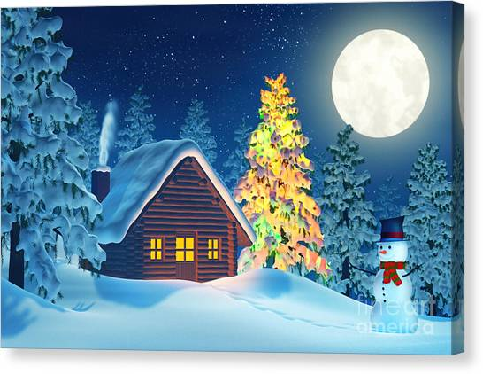 Rolling Hills Canvas Print - Cabin And A Christmas Tree And A Snowman In Winter Landscape At Night by Sara Winter