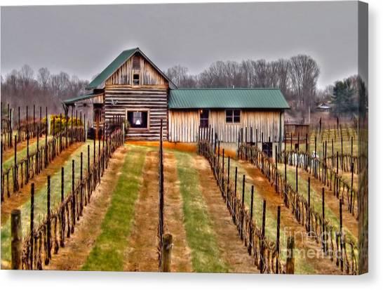 Cabin At Autumn Creek Vineyard Canvas Print