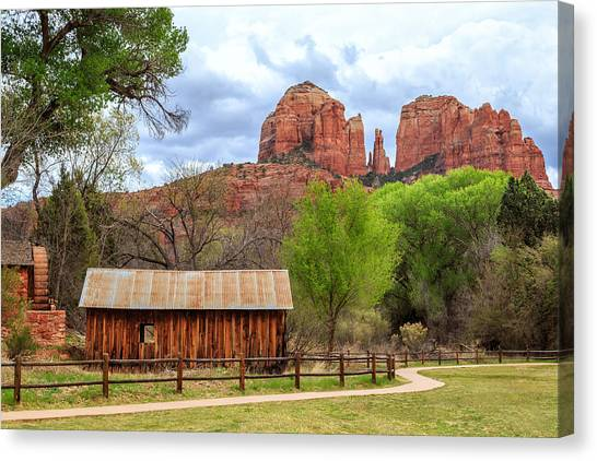 Cathedral Rock Canvas Print - Cabin At Cathedral Rock by James Eddy