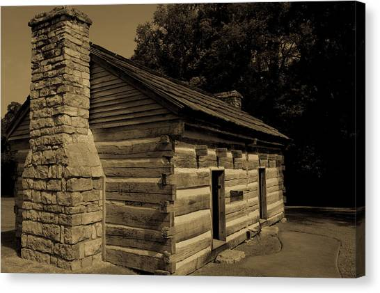 Canvas Print featuring the photograph Cabin At The Hermitage by James L Bartlett
