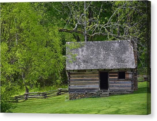 Cabin At Zebulon Vance Birthplace Canvas Print