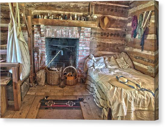 Cabin Bedroom Canvas Print