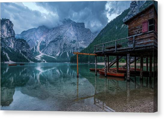 Cabin By The Lake Canvas Print