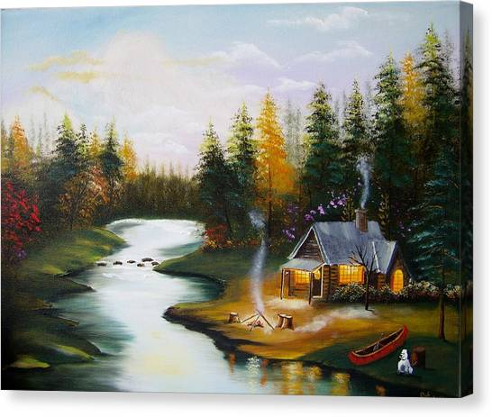 Cabin By The River Canvas Print