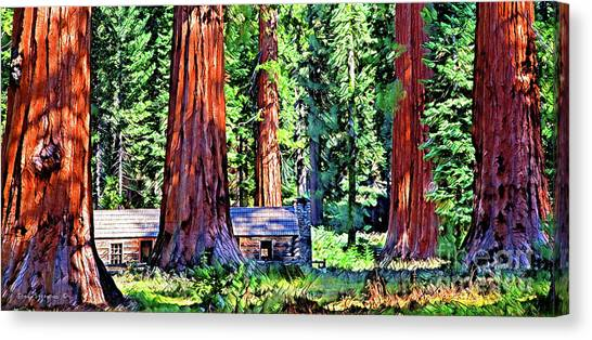 Redwood Forest Canvas Print - Cabin In Mystical Giant Sequoia Forest by John Stephens