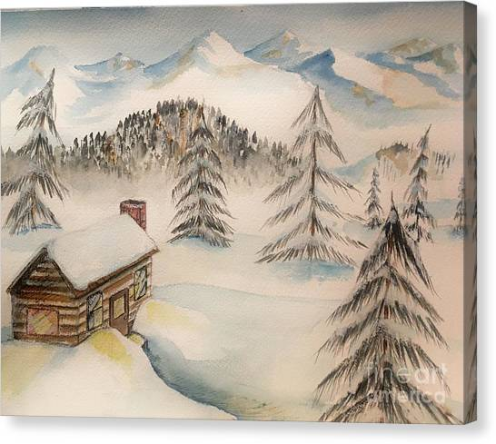 Cabin In The Rockies Canvas Print