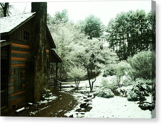 Cabin In The Snow Canvas Print by Adam LeCroy