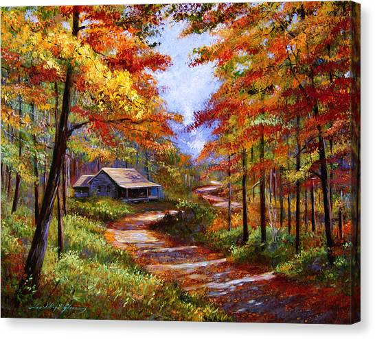 Autumn Leaves Canvas Print - Cabin In The Woods by David Lloyd Glover