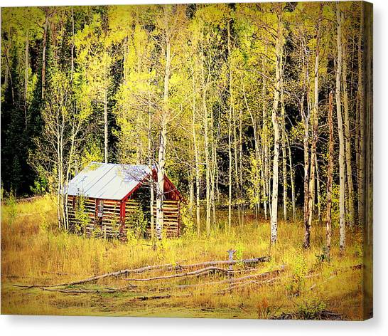Cabin In The Golden Woods Canvas Print