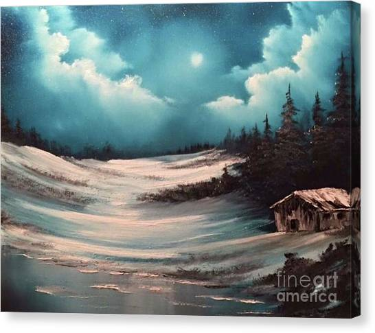 Cabin In The Woods  Canvas Print by Paintings by Justin Wozniak