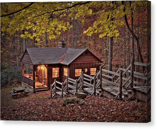 Canvas Print featuring the photograph Cabin In The Woods by Williams-Cairns Photography LLC